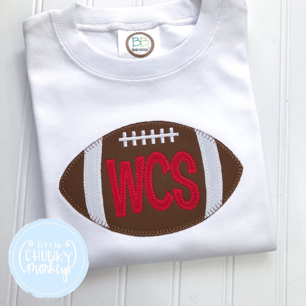 Boy Shirt - Applique Football with Personalization