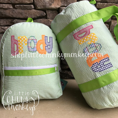 Duffle + Applique Name on Lime