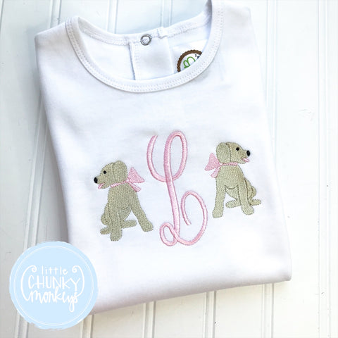 Girl Shirt - Puppies with Monogram