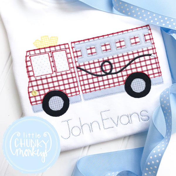 Boy Shirt - Fire Truck with Blue Detail