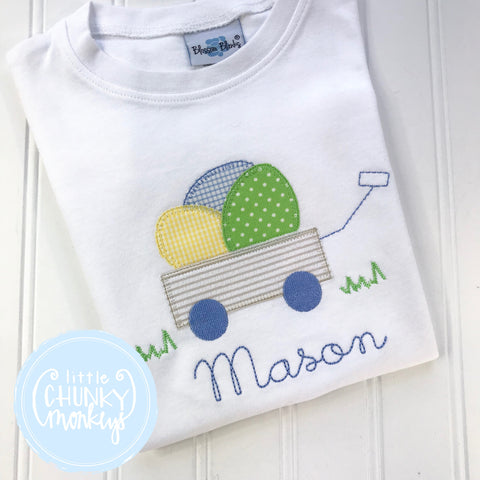 Boy Shirt- Boy Easter Shirt - Easter Wagon with Khaki Seersucker Applique Shirt
