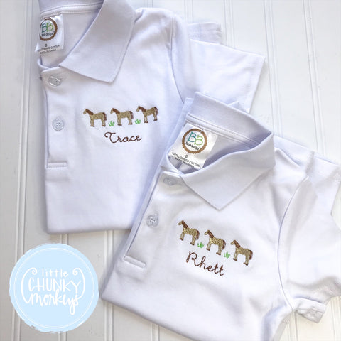 Boy Polo Shirt - Embroidered Horses with Personalization