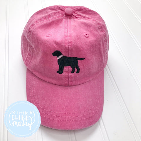 Toddler Kid Hat - Standing Puppy on Hot Pink Hat