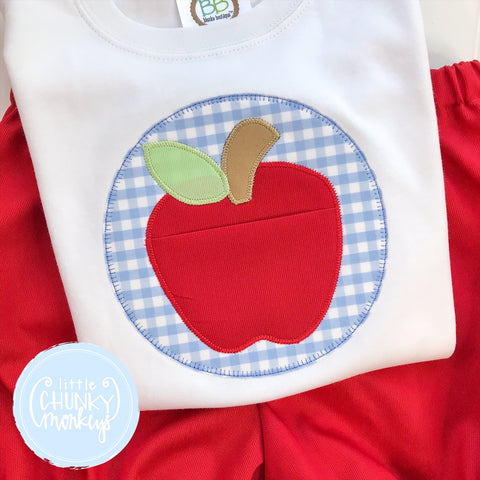 Boy Shirt - Applique Apple with Pocket on White Shirt