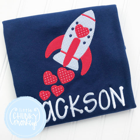 Boy Shirt - Boy Valentine Shirt - Valentine  Rocket with Hearts on Navy Blue Shirt