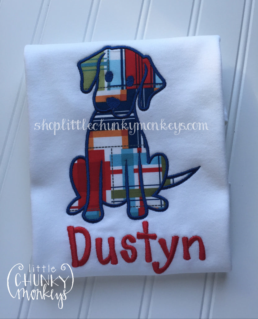 Boy Outfit - Boy Shirt - Personalized Plaid Dog Applique Shirt