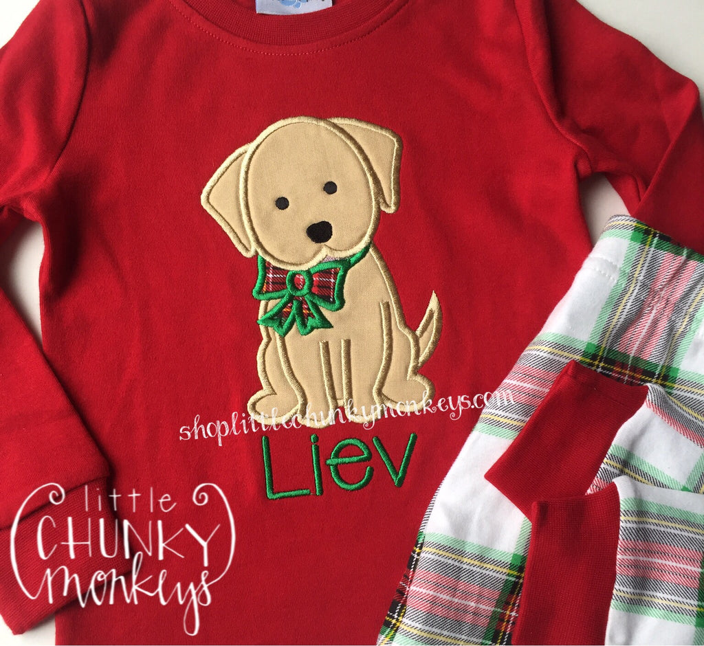 Boy Shirt- Personalized Dog with Bow
