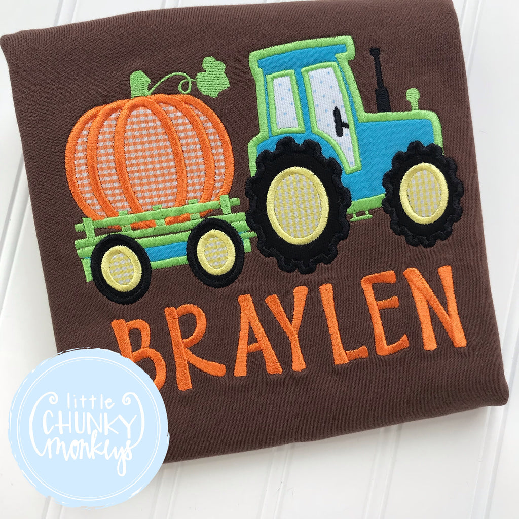 Boy Shirt - Boy Fall Shirt - Personalized Pumpkin Tractor Applique on Brown Shirt