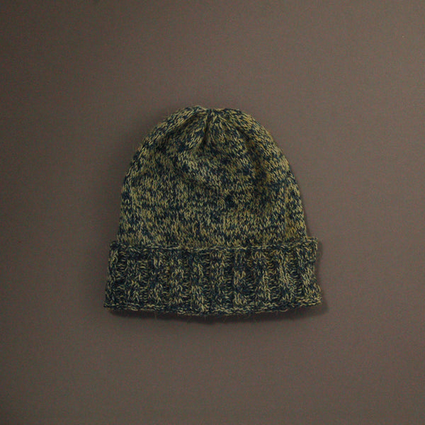 Knitted Beanie - Navy/Green