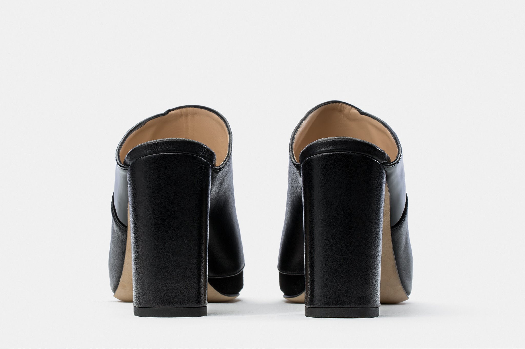 BLACK NAPPA + PATENT LEATHER ADELE MULE