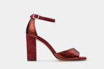 BURGUNDY METALLIC + SUEDE LEATHER CATHERINE SANDAL
