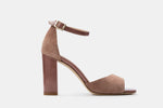 BLUSH SUEDE + PATENT LEATHER CATHERINE SANDAL