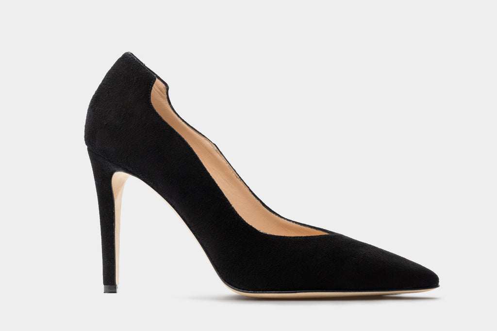 BLACK SUEDE LEATHER LUCY PUMP