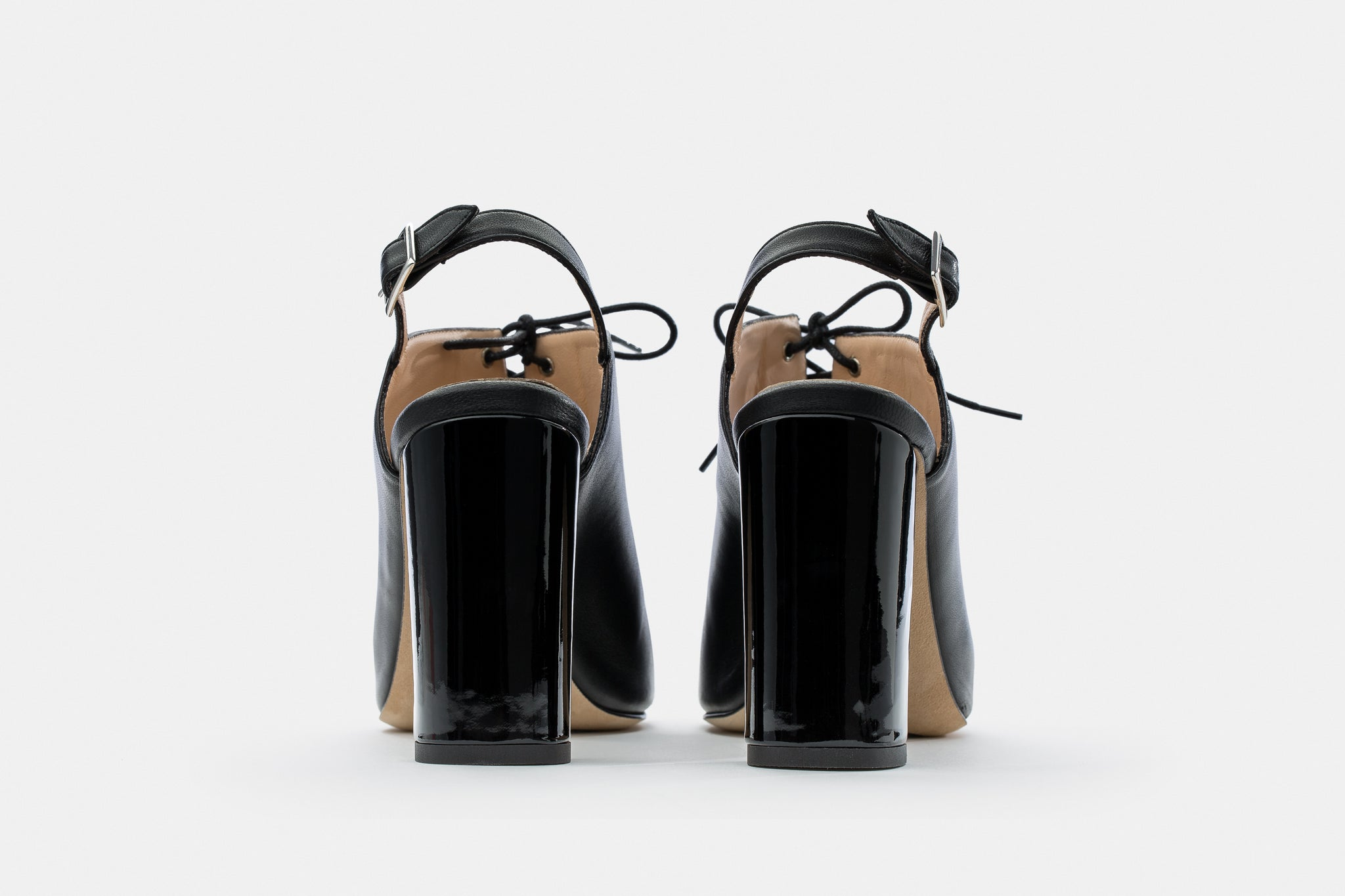 BLACK NAPPA + PATENT LEATHER LACE NAYNA MULE