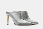 SILVER METALLIC LEATHER TANIA MULE