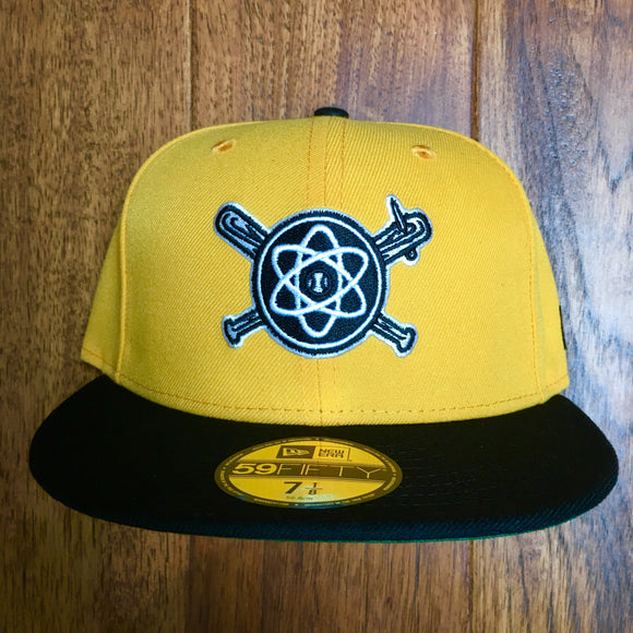 ISOTOPES X NEW ERA 59/50 GAME NIGHT FITTED BAT & NAIL BALL CAP - ATHLETIC GOLD & BLACK
