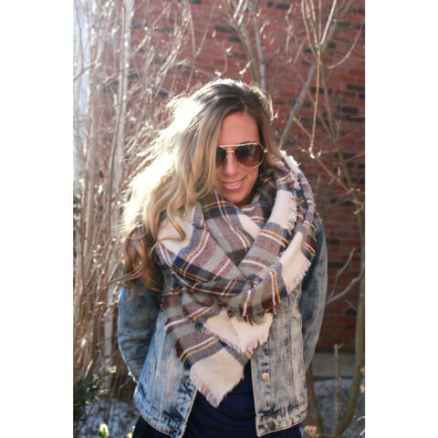 Heather Skies Plaid Blanket Scarf