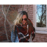 Burnt Red Plaid Blanket Scarf - Beautifull Boundaries