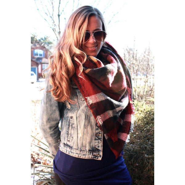 Burnt Red Plaid Blanket Scarf