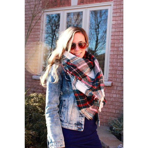 Evergreen Plaid Blanket Scarf
