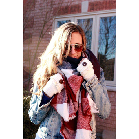 Navy Times Plaid Blanket Scarf
