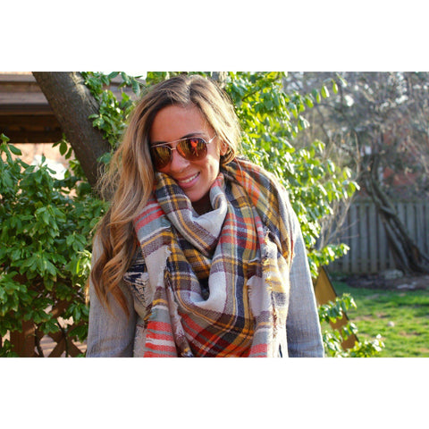 Pumpkin Spice Plaid Blanket Scarf