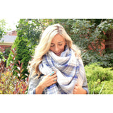 Denim Plaid Blanket Scarf