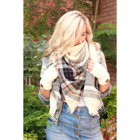 Pepper Plaid Blanket Scarf