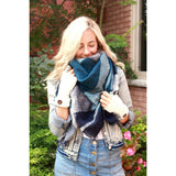 Blues on Blues Plaid Blanket Scarf