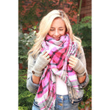 Forever Pink Plaid Blanket Scarf