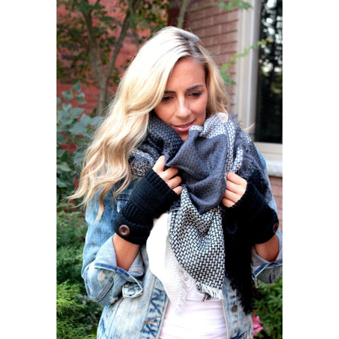 Herring Bone Plaid Blanket Scarf