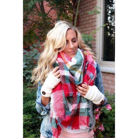 Bright Plaid Blanket Scarf