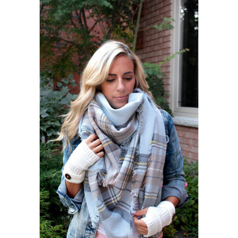 Blue and sand  Plaid Blanket Scarf
