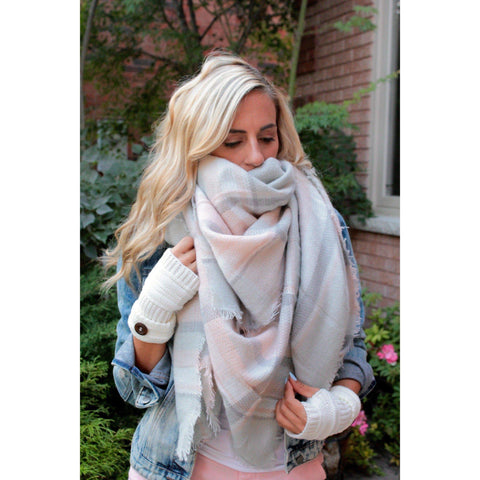 Orchid Plaid Blanket Scarf