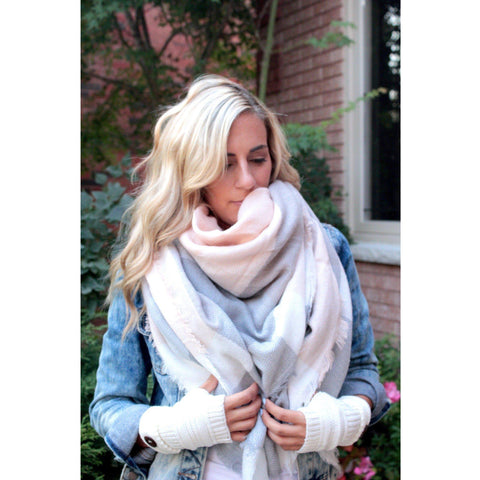 White Rose Plaid Blanket Scarf