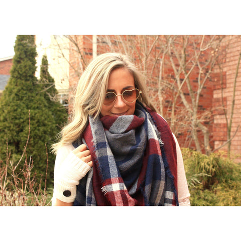 City Streets Plaid Blanket Scarf