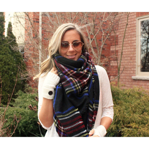Pinecone Plaid Blanket Scarf