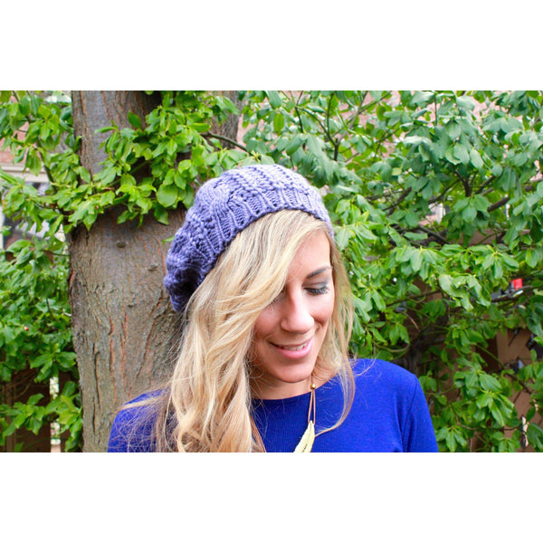Grey Slouchy Knit Hat