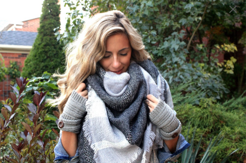 Greys on Grey Plaid Blanket Scarf
