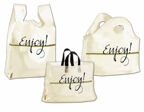 Restaurant Carry Out Bags - Ameritote Frosted Soft Loop Bags