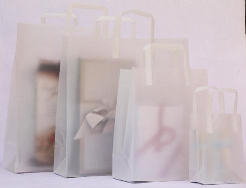 Frosty Clear Trifold Loop Shopping Bag
