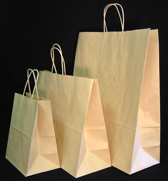 Oatmeal Kraft Paper Shopping Bags