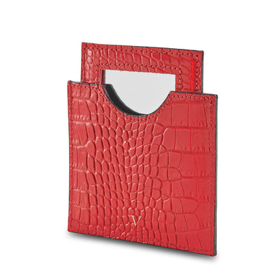 NEW! Leather Croc Mirror With Case - LRM