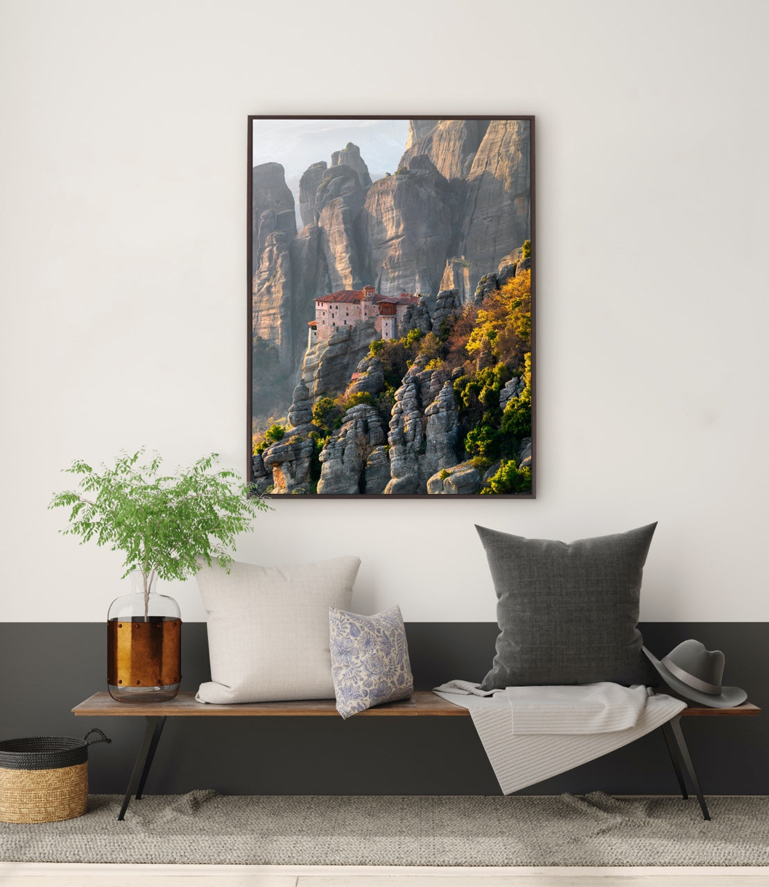 Framed photo wall art over sitting area