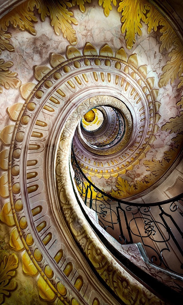Abstract photograph of a spiral staircase