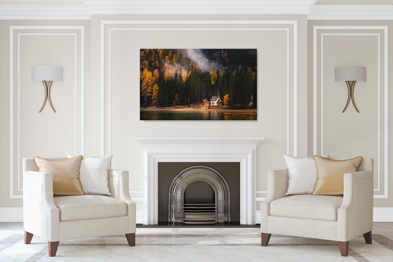 Forest photo wall art in a living room