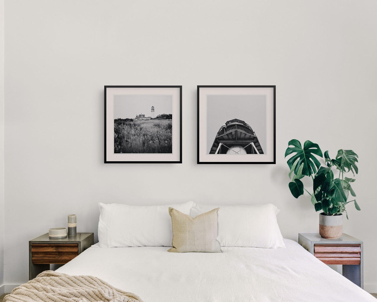 Framed black and white photo art in a bedroom