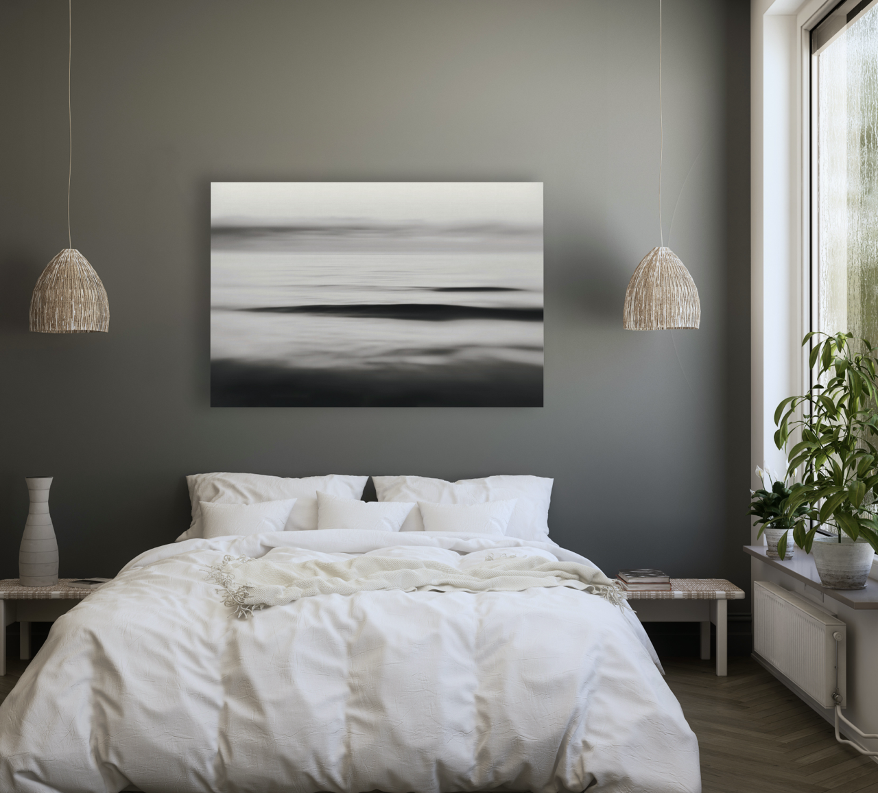 Abstract black and white art in bedroom