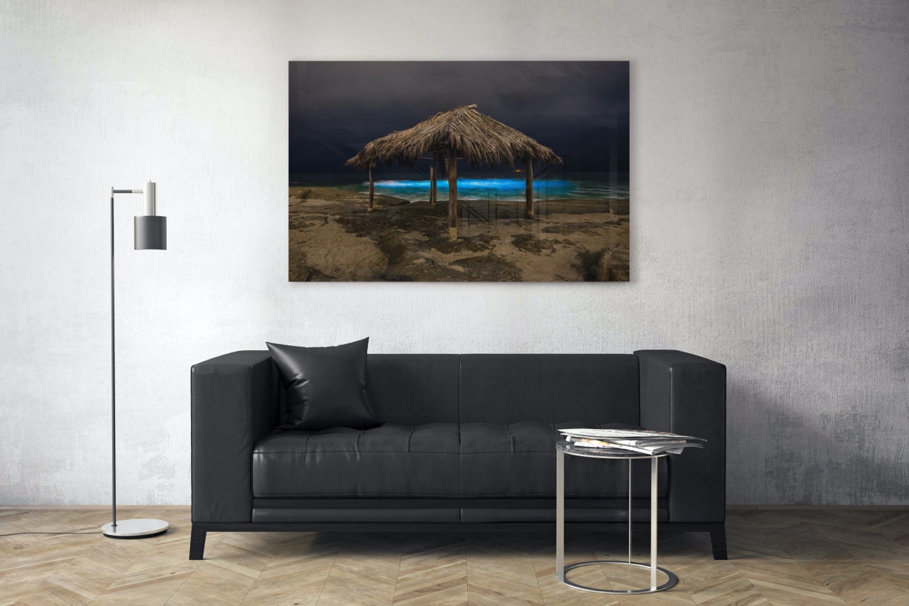 Black and white beach art in modern living room