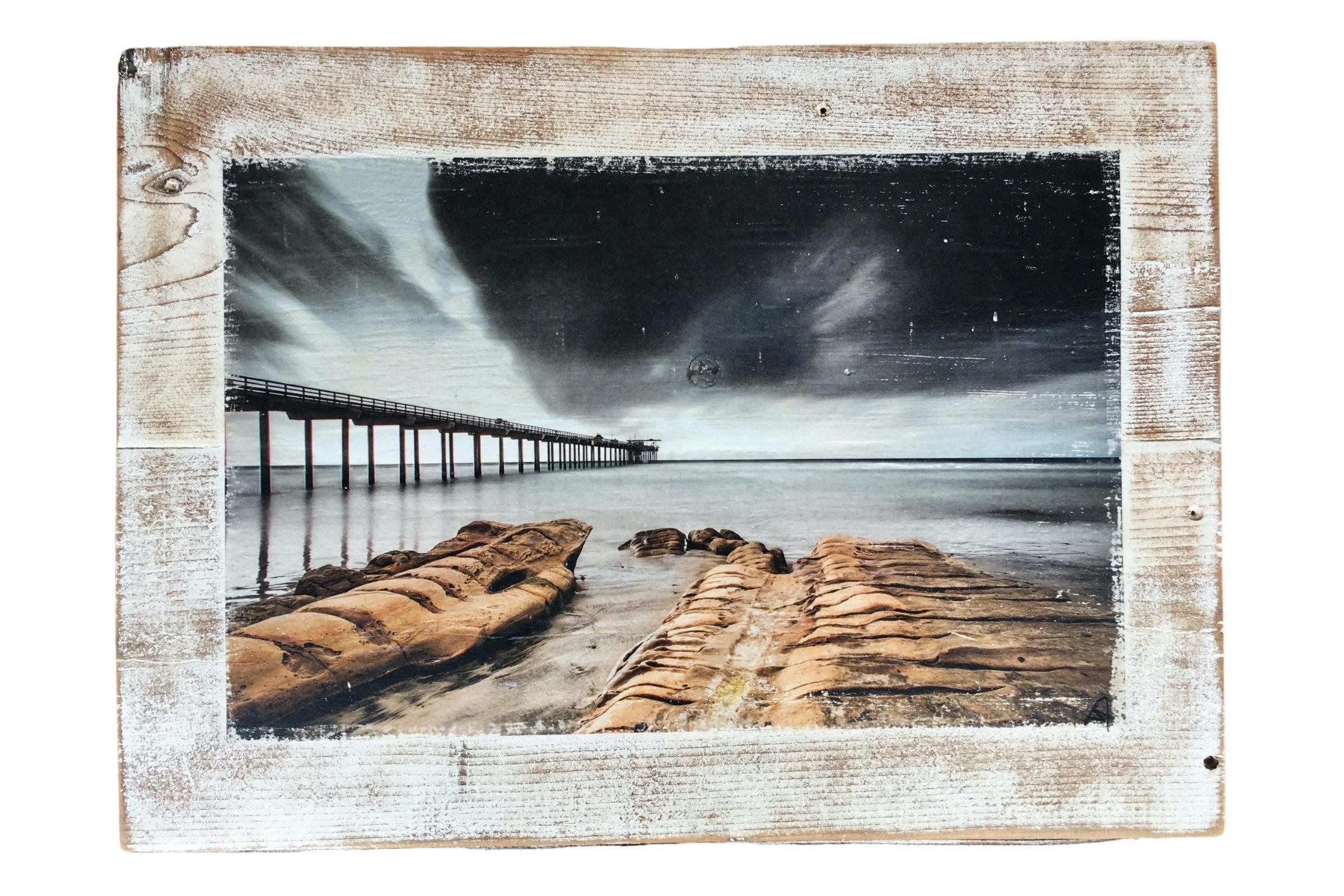 Wood photo art of a pier at the beach